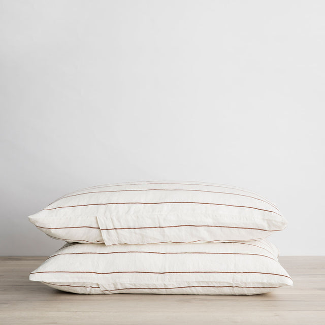 Set of 2 Linen Pillowcases - Cedar Stripe