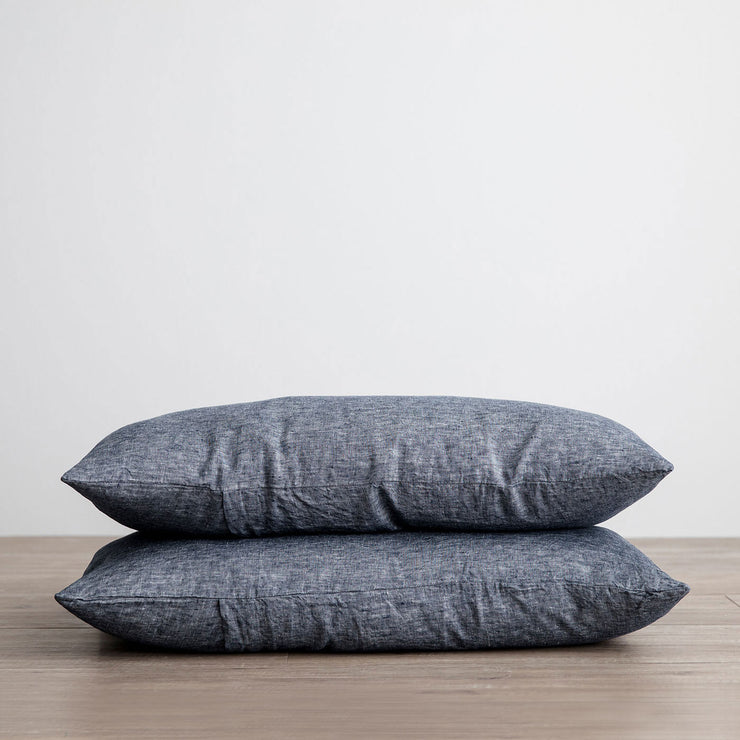 Set of 2 Linen Pillowcases - Indigo