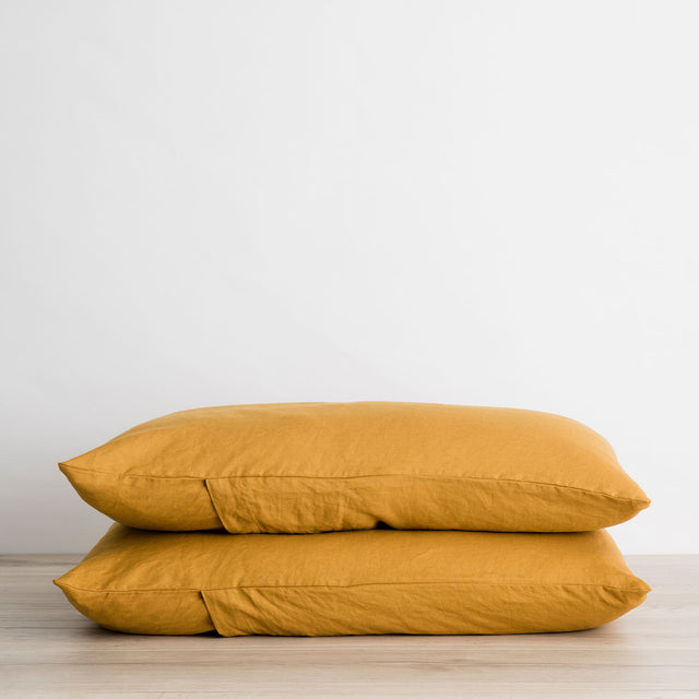 Set of 2 Linen Pillowcases - Mustard