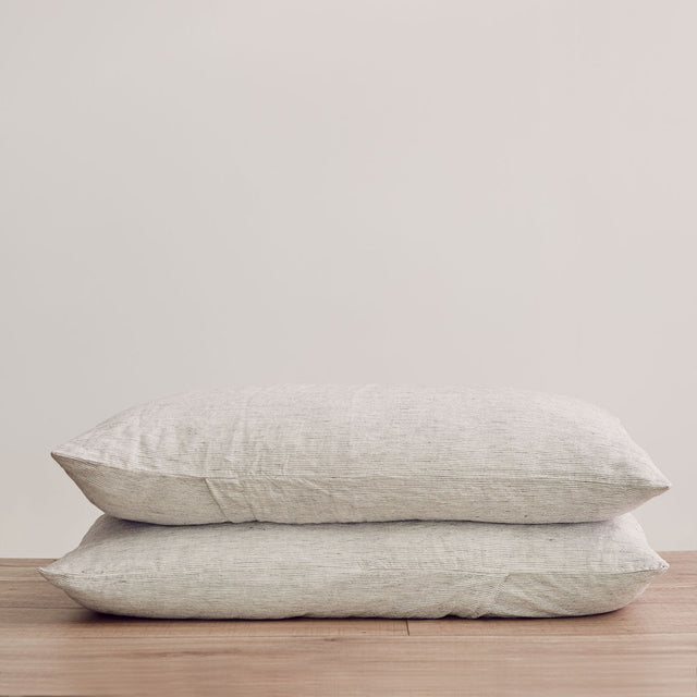 Stack of 2 Linen Pillowcases in Pinstripe