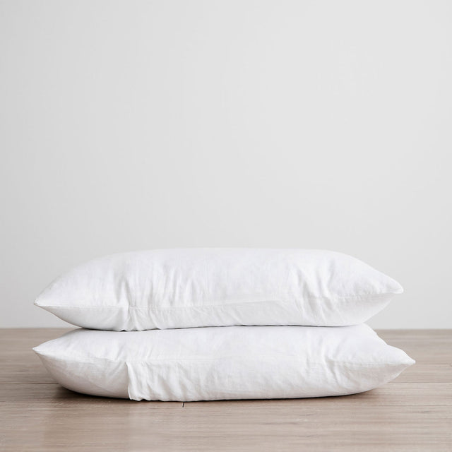 Set of 2 Linen Pillowcases in White