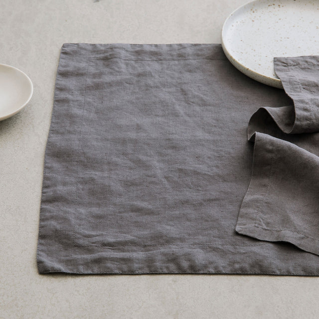 Linen Placemats - Charcoal Gray