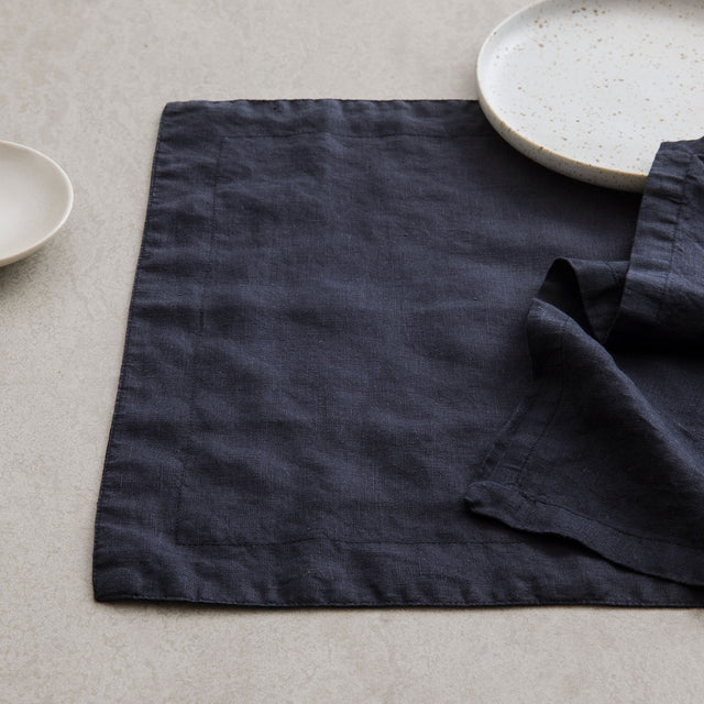 Image of Linen Placemat in Navy with Navy Linen Table Napkin.