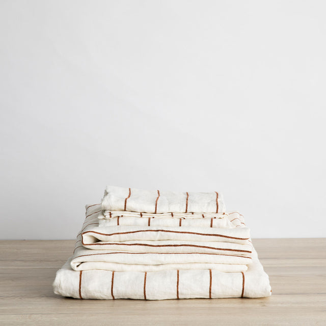 Linen Sheet Set Stack in Cedar Stripe