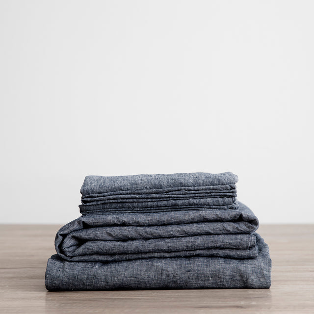 Linen Sheet Set with Pillowcases - Indigo