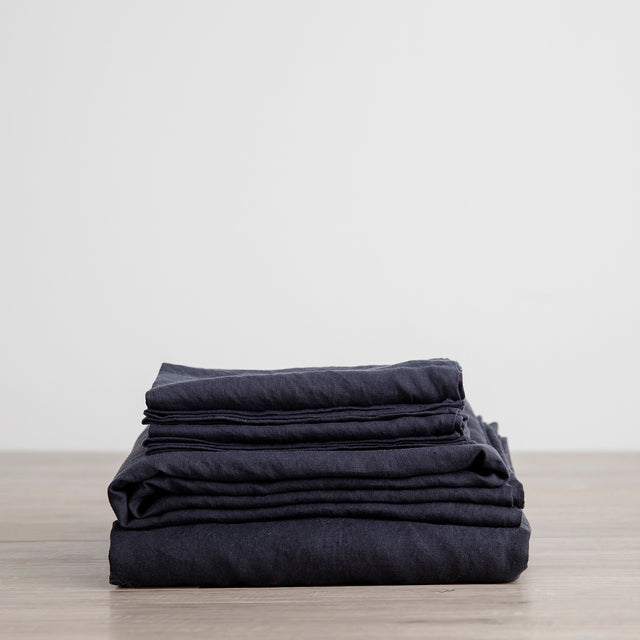 Linen Sheet Set with Pillowcases - Navy