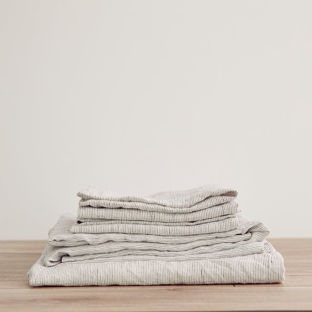 Linen Sheet Set with Pillowcases - Pinstripe