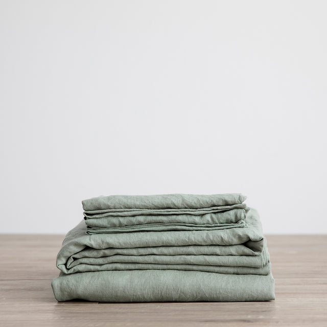 Linen Sheet Set with Pillowcases - Sage