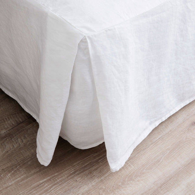A close up of the corner of the Linen Valance in White.