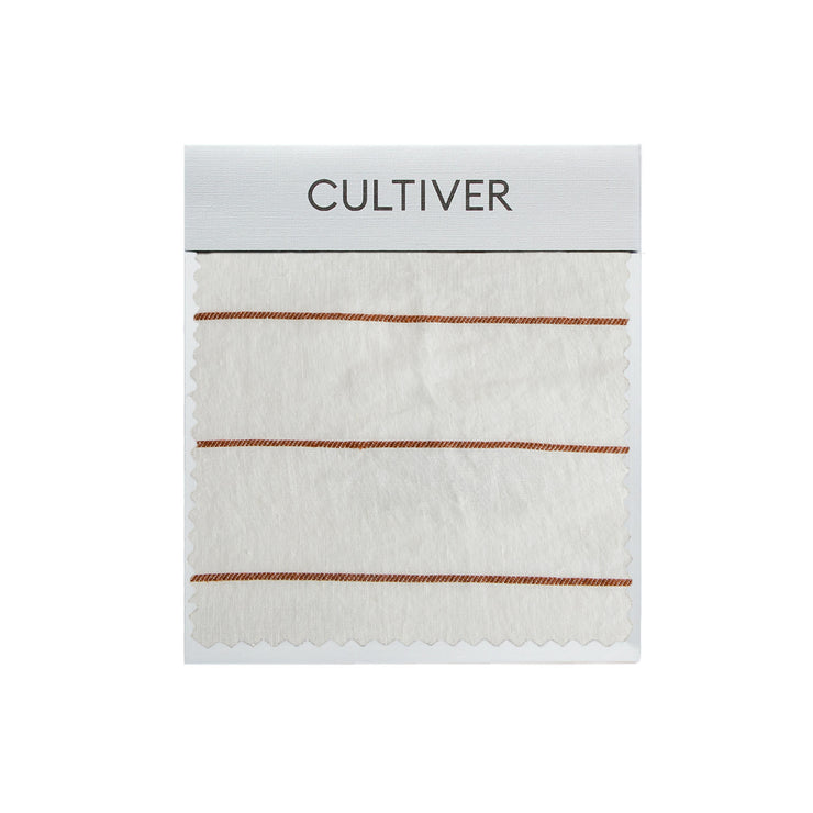 A CULTIVER Linen Swatch in Cedar Stripe