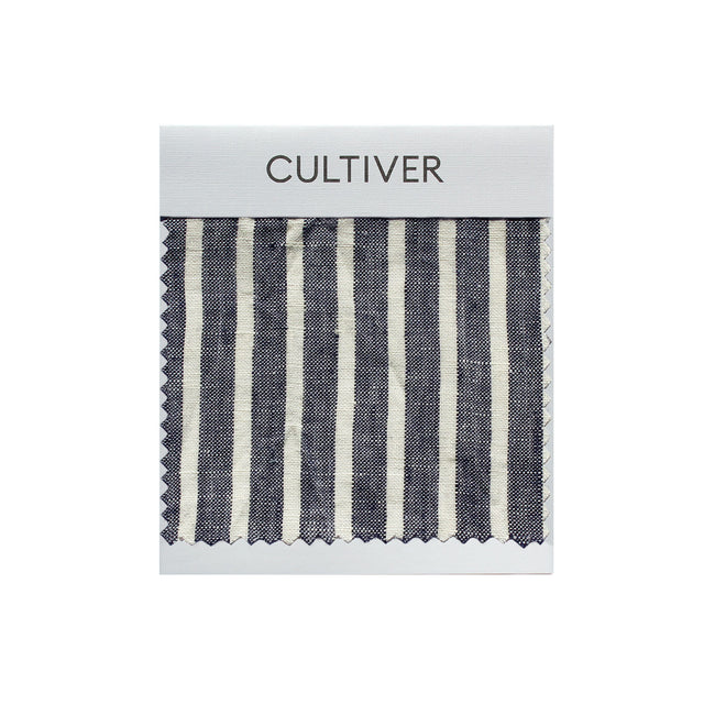 A CULTIVER Linen Swatch in Indigo Stripe