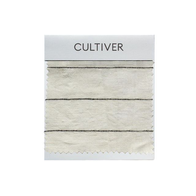 A CULTIVER Linen Swatch in Pencil Stripe