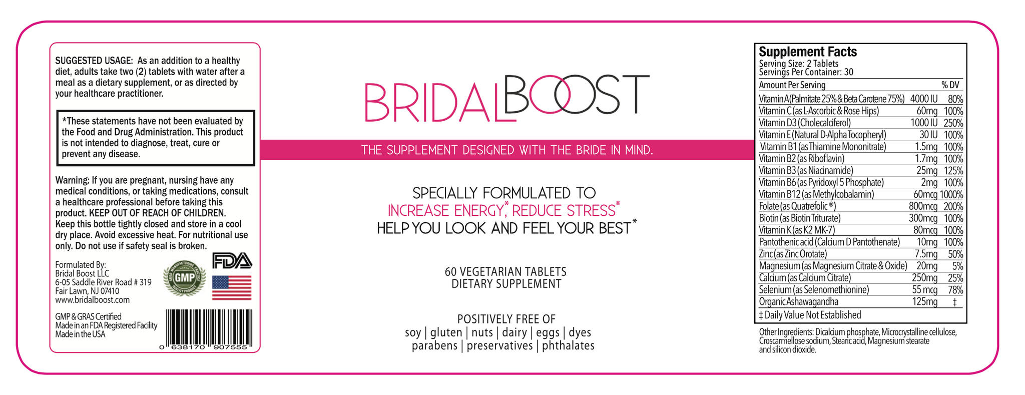 Bridal Boost Supplement Facts Label