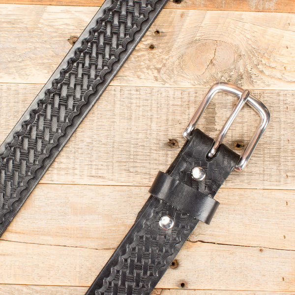 Black Basketweave Embossed Belt