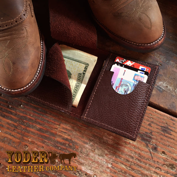 Bison Brown Boot Clip Wallet Amish Handmade Leather