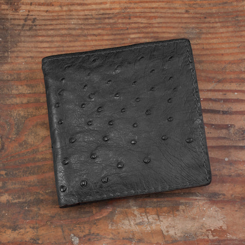 Black Ostrich Skin Hipster Leather Wallet