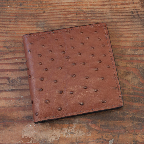 Brown Ostrich Leather Hipster 12 card slots wallet