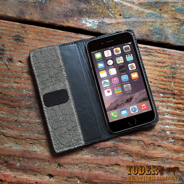 Gray Elephant Hide iPhone Wallet Case