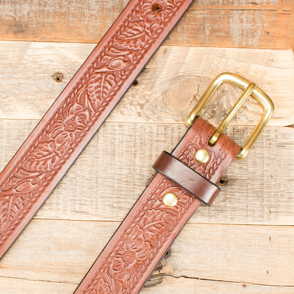 Rope Floral Embossed Belt