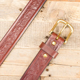 Brown Leather Animal Stamp Belt