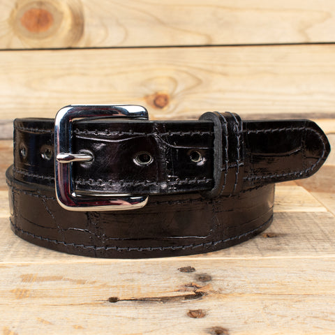 Black Alligator Leather Belt