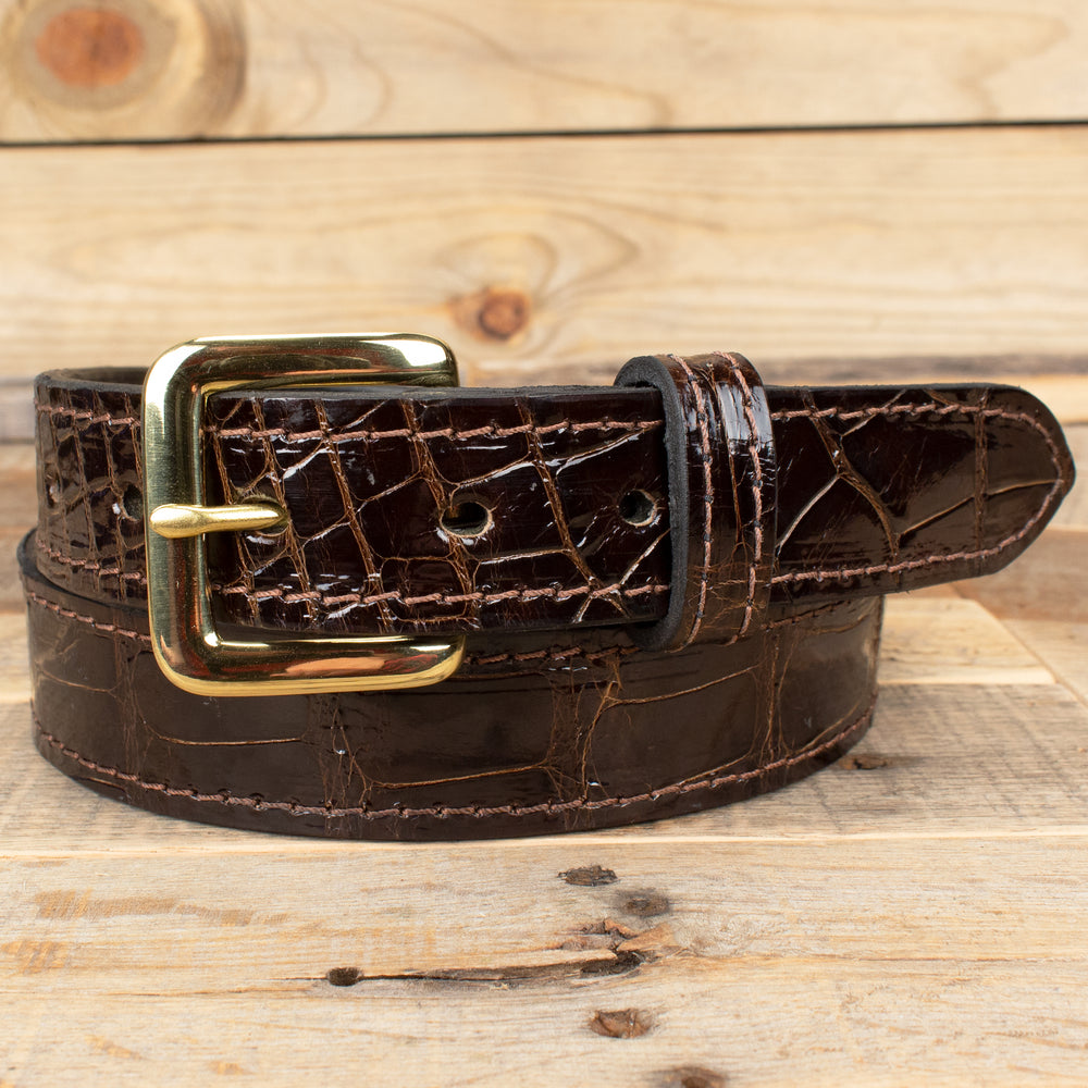 Alligator Leather Belt Brown