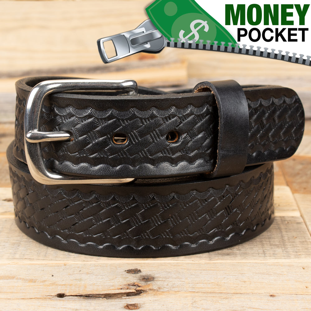 Basket Weave Black Money Belt