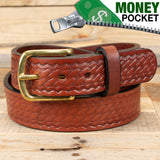Basket Weave Brown Money Belt