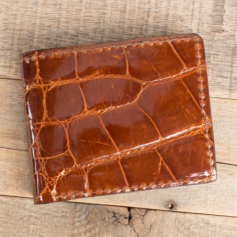 Cognac Alligator Leather Bifold Wallet