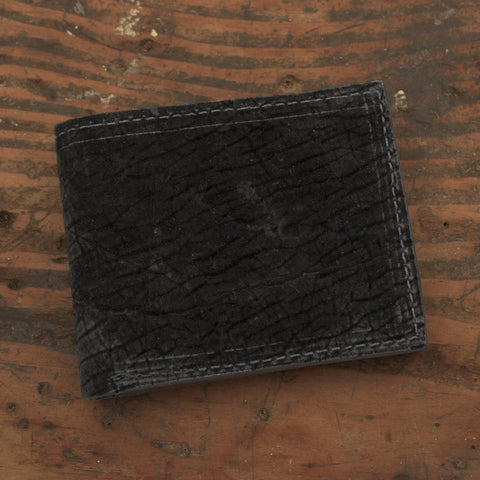 Black Hippo Bifold Leather Wallet