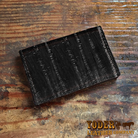 Black Pacific Eel Leather Business Card Holder