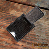 Magnetic money clip wallet Lizard Black