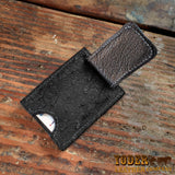 Black Ostrich Skin Cash Clip Wallet