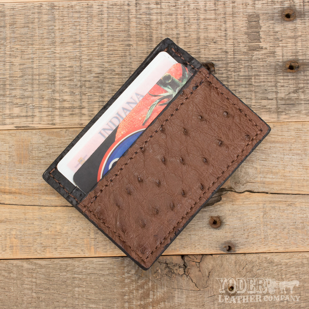 cd2fb1fdcf909 Brown Ostrich Skin Magnetic Money Clip  Ostrich Leather Magnetic Clip  Magnetic  Clip Wallet ...