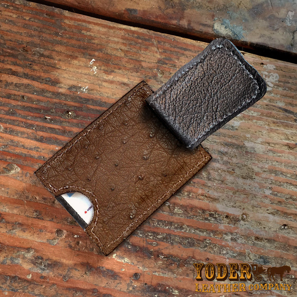 Brown Ostrich Leather Magnetic Money Clip Wallet Yoder