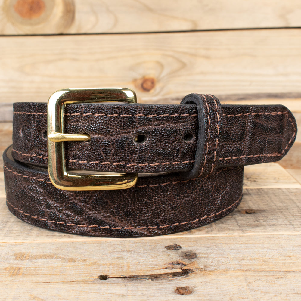 Dark Brown Elephant Hide Dress Belt