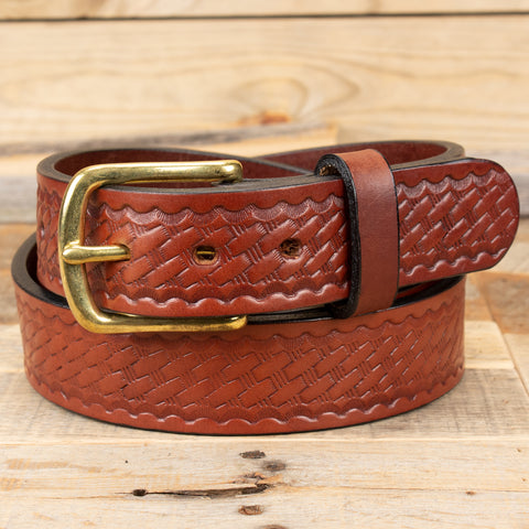 Brown Basketweave Bridle Belt
