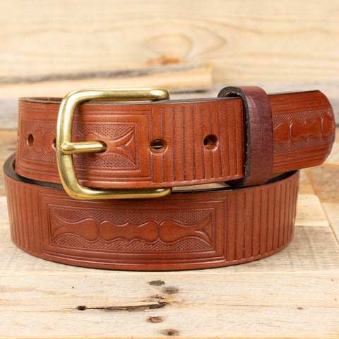 Boxe pattern embossed bridle belt