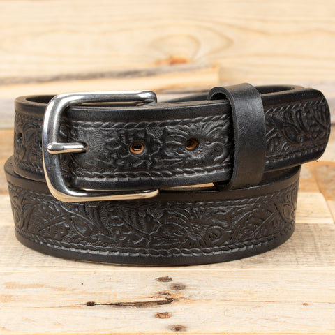 Black Rope Floral Leather Belt