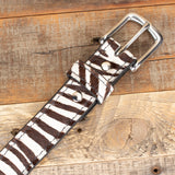 hair on zebra leather belt