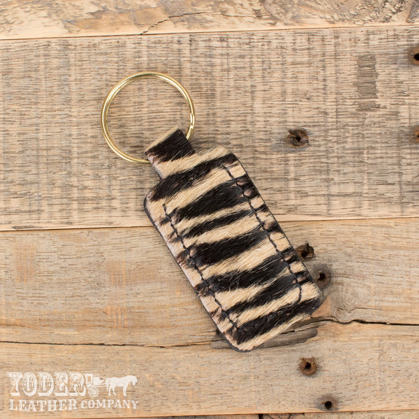 Furry Tiger Print Key Fob