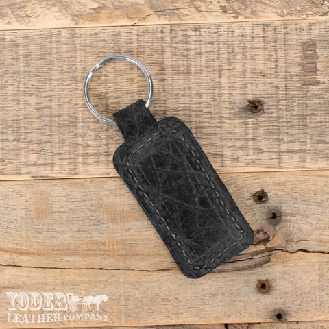 Black Hippo Leather Key Fob