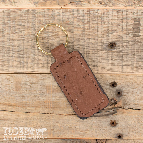 Brown Ostrich Leather Key Fob