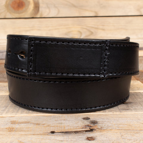 Black Leather No Buckle Belt