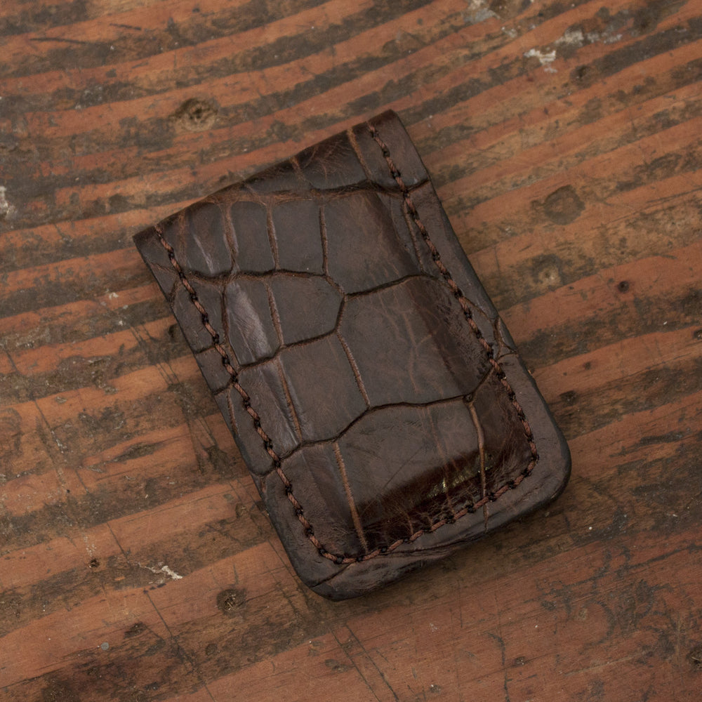Brown Alligator Skin Leather Money Clip