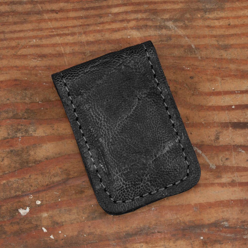 Black Elephant Leather Money Clip