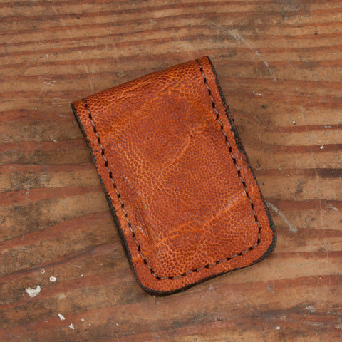 Caramel Brown Elephant Leather Cash Clip