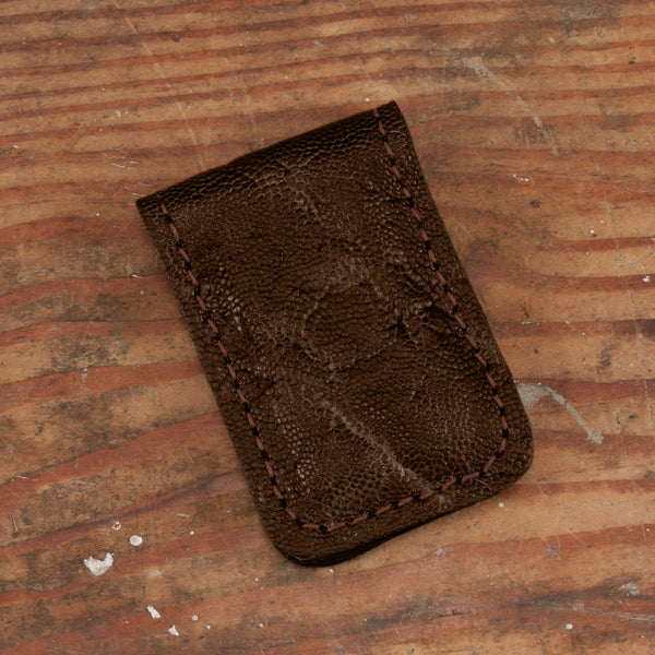 Dark Brown Elephant Hide Leather Money Clip