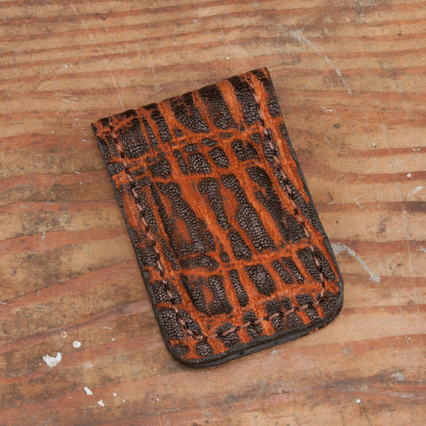 Dragon Fire Elephant Hide Leather Money Clip