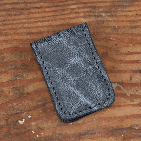 Gray Elephant Leather Cash Clip